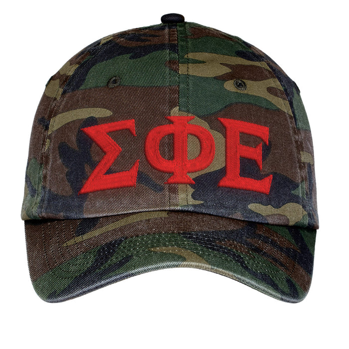 Sigma Phi Epsilon Letters Embroidered Camouflage Hat