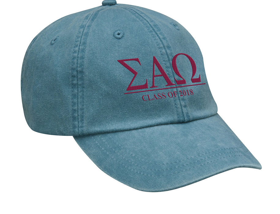 Sigma Alpha Omega Embroidered Hat with Custom Text