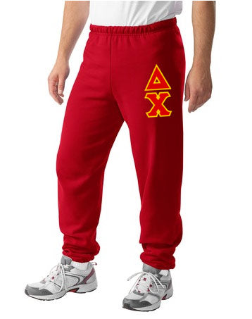 Delta Chi Sweatpants with Sewn-On Letters