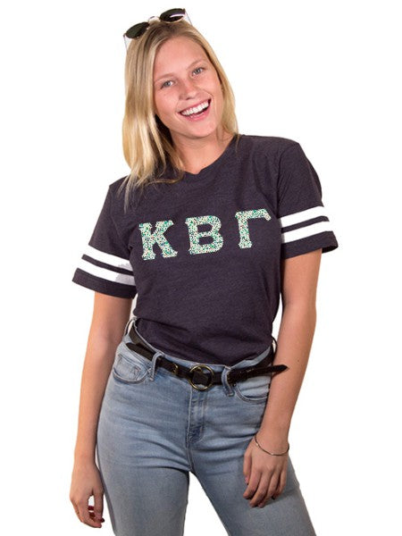 Kappa Beta Gamma Unisex Jersey Football Tee with Sewn-On Letters