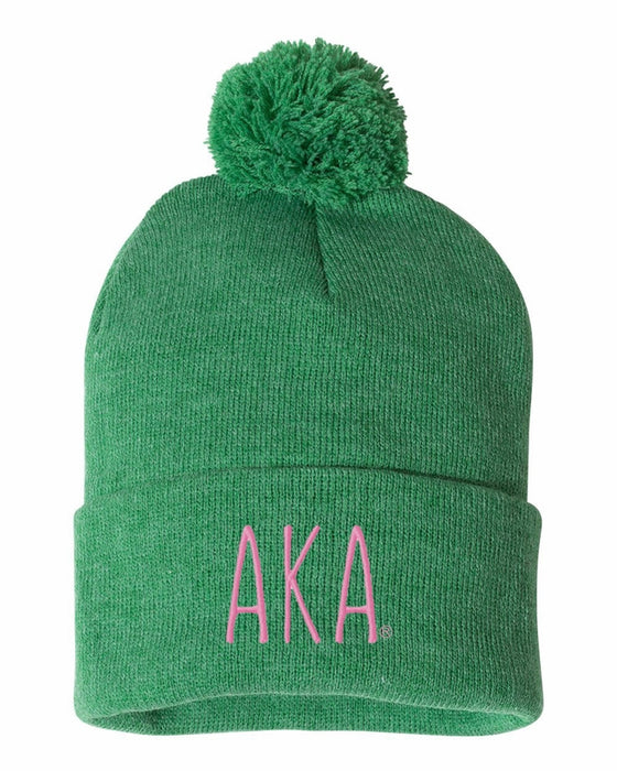 Alpha Kappa Alpha Sorority Beanie With Pom Pom