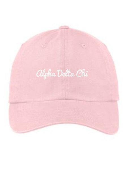 Alpha Delta Chi Cursive Embroidered Hat
