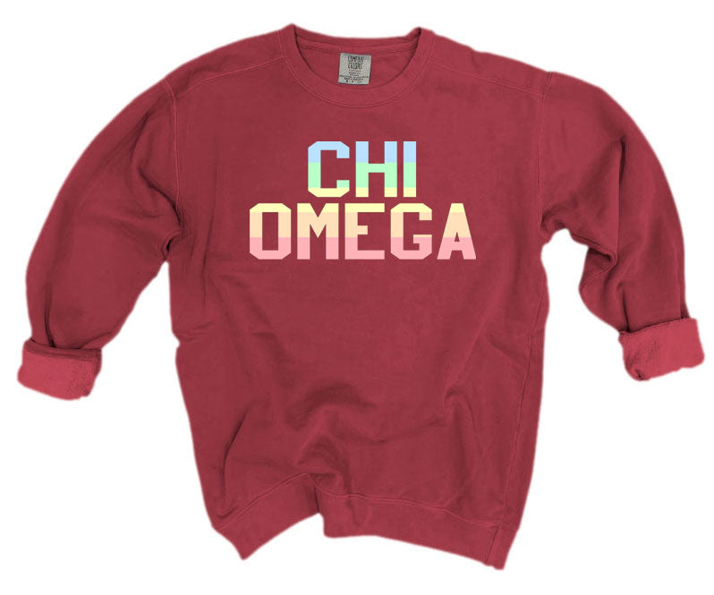 Chi Omega Comfort Colors Pastel Sorority Sweatshirt