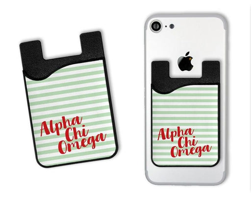 Alpha Chi Omega Sorority Stripes Caddy Phone Wallet