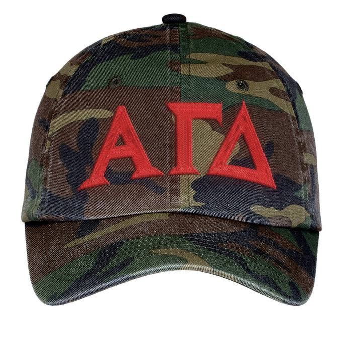 Alpha Gamma Delta Letters Embroidered Camouflage Hat