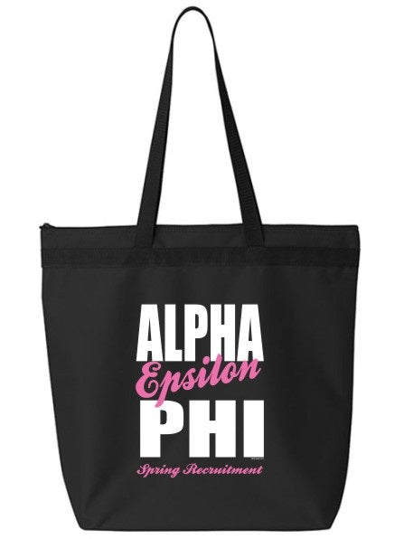 Alpha Epsilon Phi Cursive Impact Zippered Poly Tote