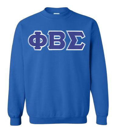 Phi Beta Sigma Crewneck Sweatshirt with Sewn-On Letters