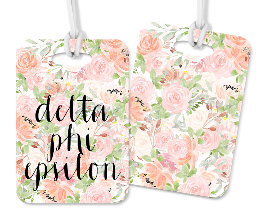 Delta Phi Epsilon Pink Floral Luggage Tag