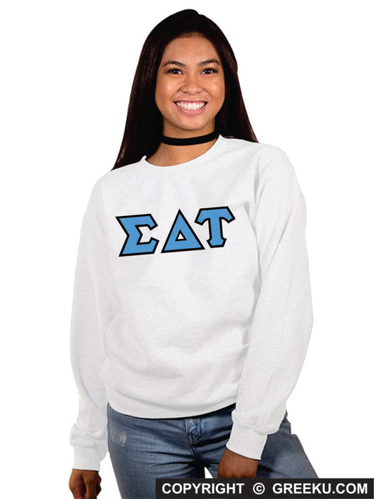 Sigma Delta Tau Classic Colors Sewn-On Letter Crewneck