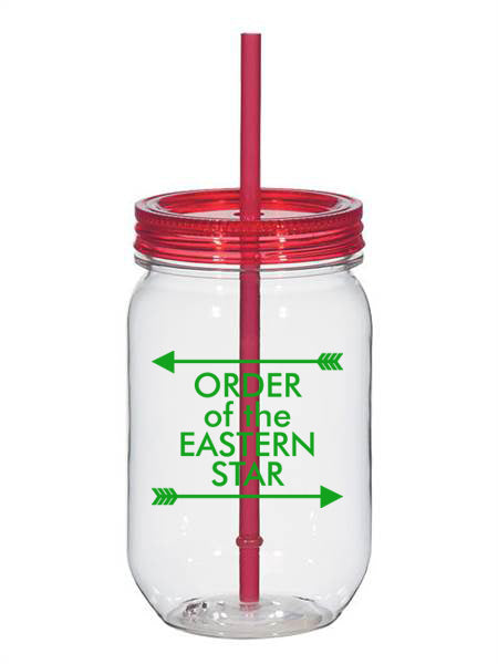 Order Of The Eastern Star Arrow Top Bottom 25oz Mason Jar