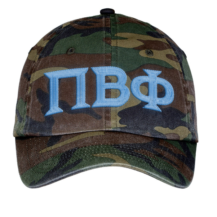 Pi Beta Phi Letters Embroidered Camouflage Hat