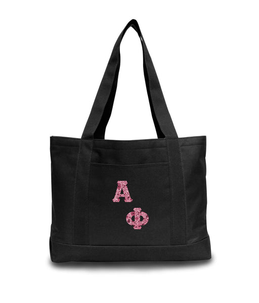 Alpha Phi 2-Tone Boat Tote with Sewn-On Letters