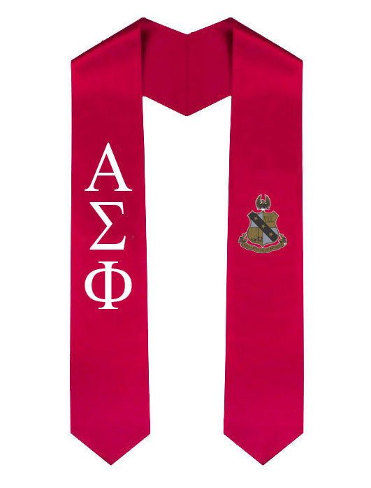 Alpha Sigma Phi Lettered Graduation Sash Stole with Crest