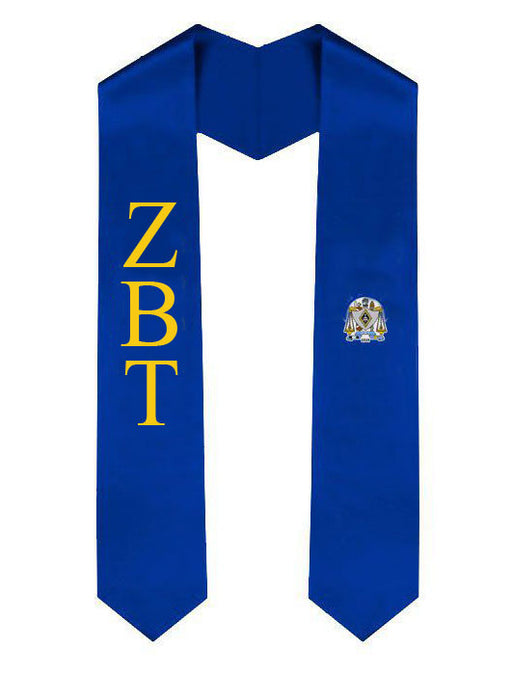 Zeta Beta Tau Lettered Graduation Sash Stole with Crest