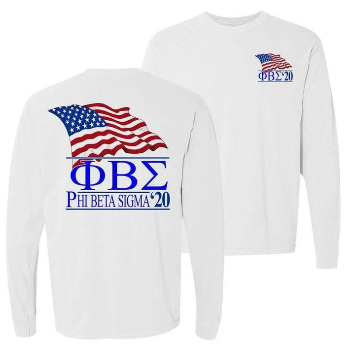 Phi Beta Sigma Patriot Flag Comfort Colors Long Tee