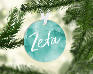 Zeta Tau Alpha Round Acrylic Watercolor Ornament