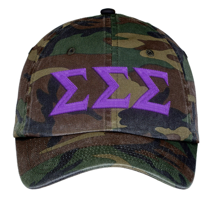 Sigma Sigma Sigma Letters Embroidered Camouflage Hat