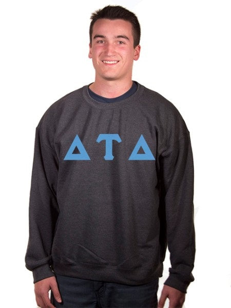 Delta Tau Delta Crewneck Sweatshirt with Sewn-On Letters