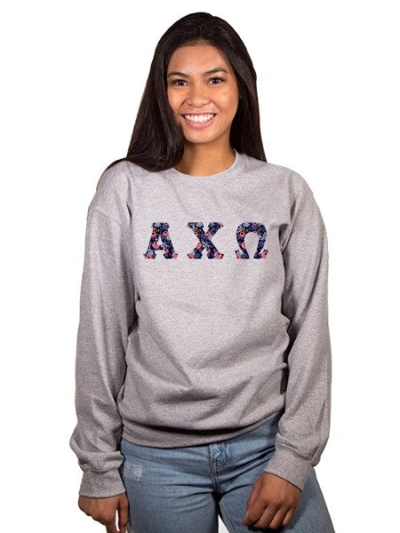 Alpha Chi Omega Crewneck Sweatshirt with Sewn-On Letters
