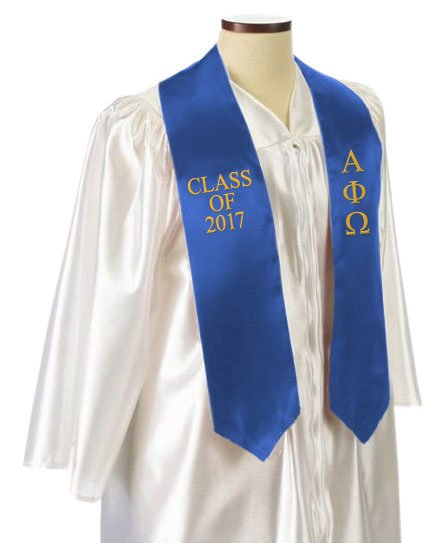 Alpha Phi Omega Classic Colors Embroidered Grad Stole