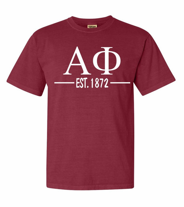 Alpha Phi Comfort Colors Established Sorority T-Shirt