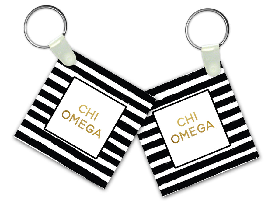 Chi Omega Keychain Striped Gold Keychain