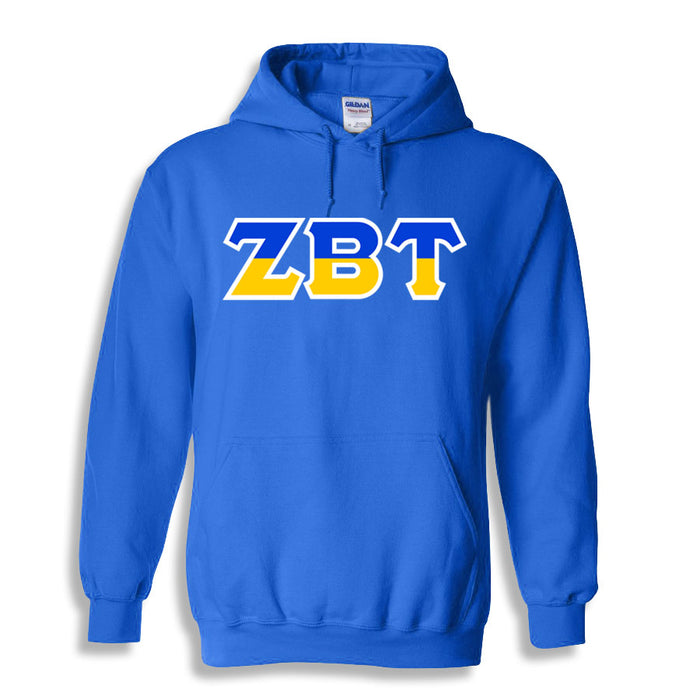 Zeta Beta Tau Two Toned Lettered Hooded Sweatshirt