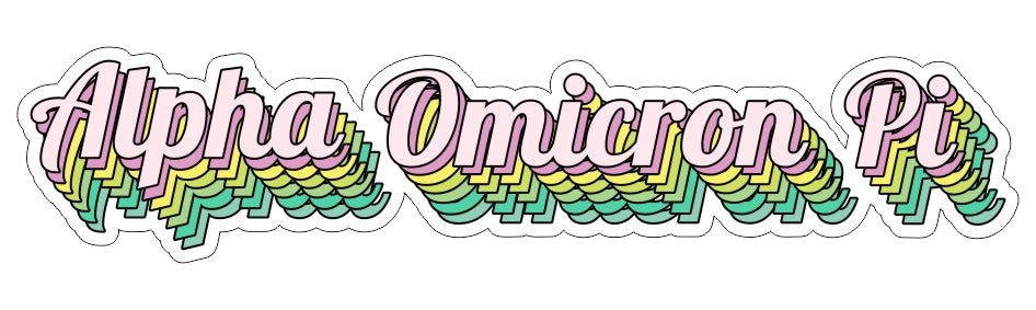 Alpha Omicron Pi New Hip Stepped Sticker