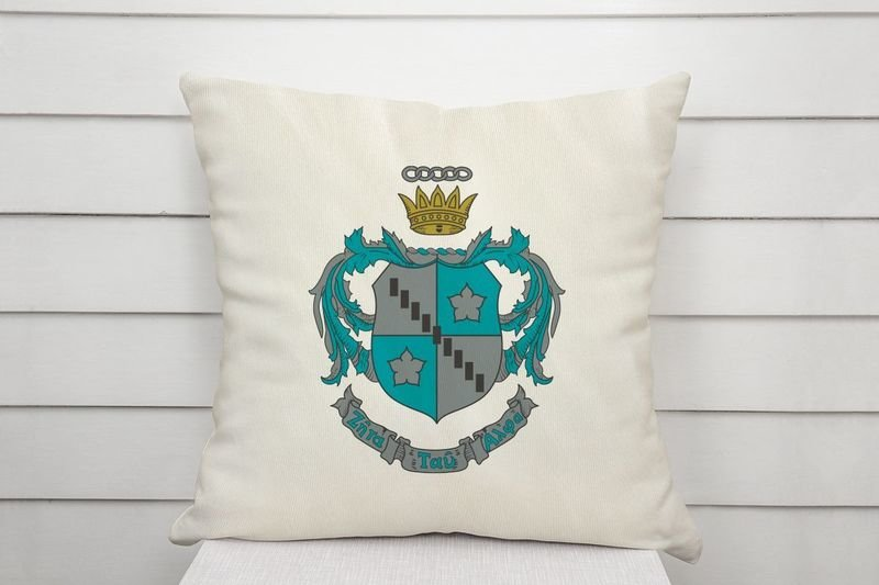 Zeta Tau Alpha Linen Shield Throw Pillow
