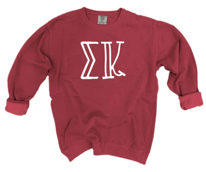 Sigma Kappa Comfort Colors Greek Letter Sorority Crewneck Sweatshirt