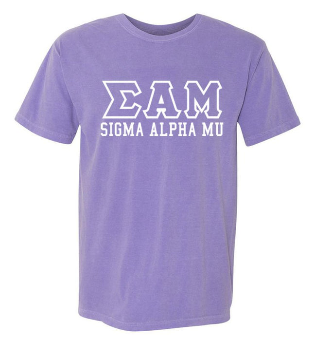 Sigma Alpha Mu Custom Comfort Colors Greek Outline T-Shirt