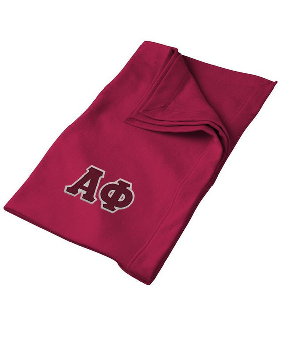 Alpha Phi Greek Twill Lettered Sweatshirt Blanket