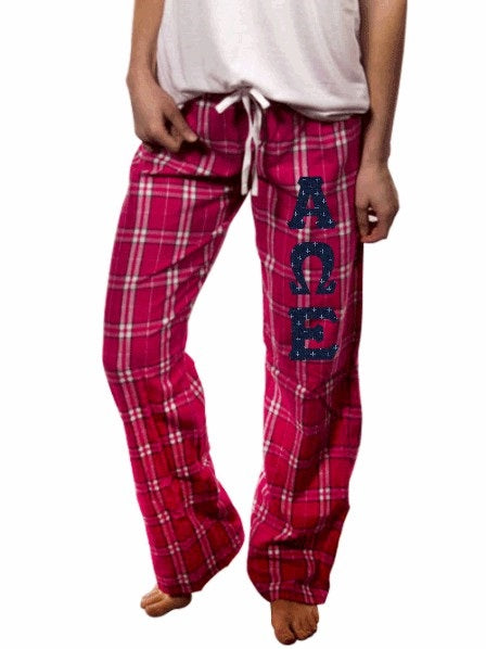 Alpha Omega Epsilon Pajama Pants with Sewn-On Letters