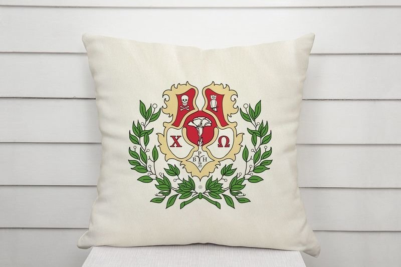Chi Omega Linen Shield Throw Pillow