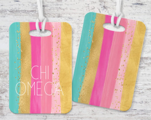 Chi Omega Bright Stripes Luggage Tag
