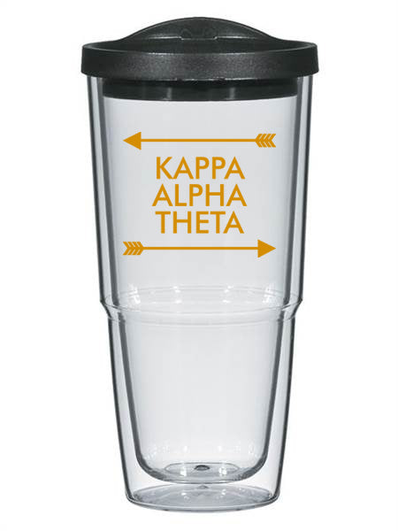 Kappa Alpha Theta Arrow Top Bottom 24oz Tumbler with Lid