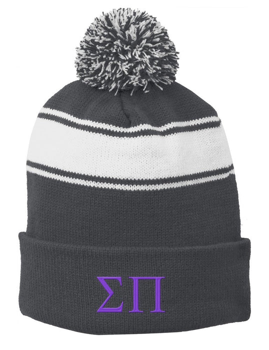 Sigma Pi Embroidered Pom Pom Beanie