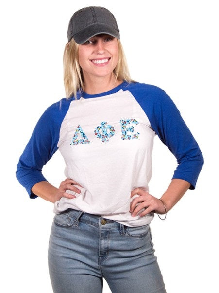 Delta Phi Epsilon Unisex 3/4 Sleeve Baseball T-Shirt with Sewn-On Letters