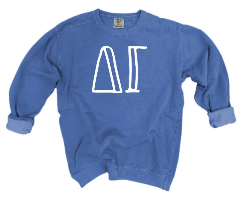 Delta Gamma Comfort Colors Greek Letter Sorority Crewneck Sweatshirt