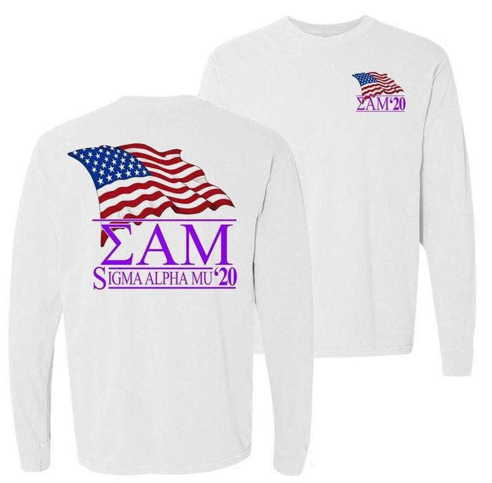 Sigma Alpha Mu Patriot Flag Comfort Colors Long Tee