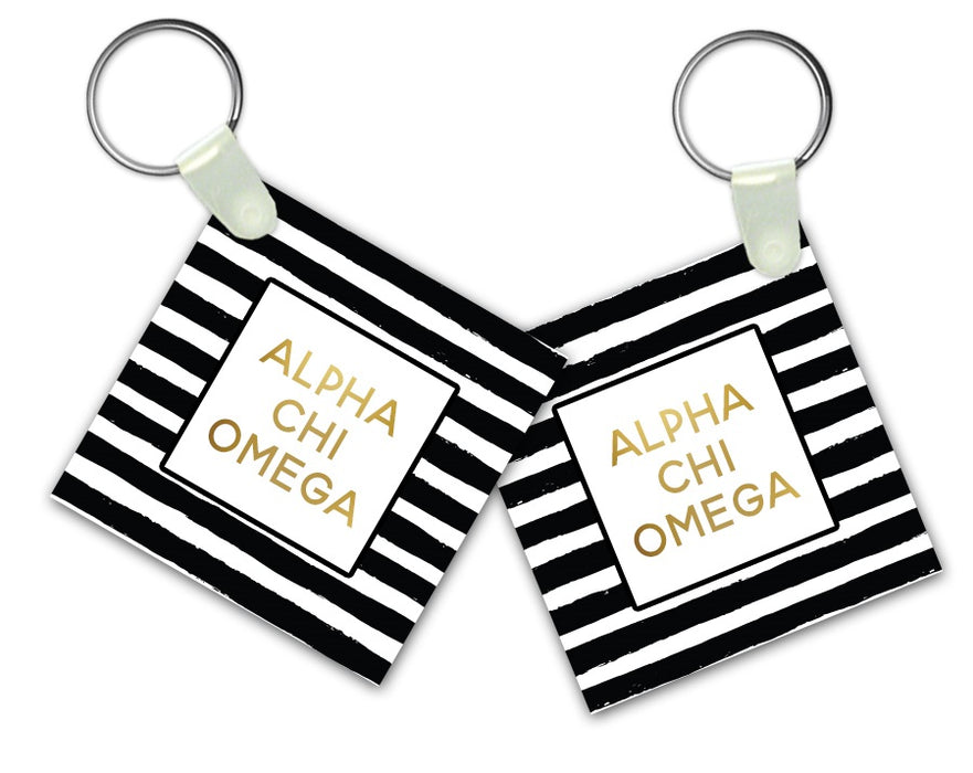 Alpha Chi Omega Striped Gold Keychain