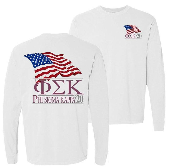 Phi Sigma Kappa Patriot Flag Comfort Colors Long Tee