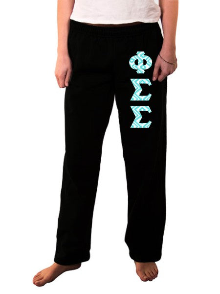 Phi Sigma Sigma Open Bottom Sweatpants with Sewn-On Letters