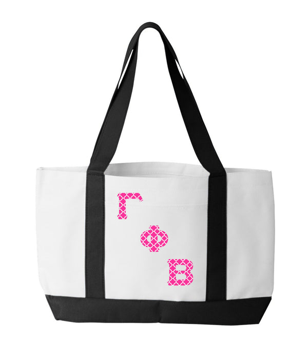 Gama Phi Beta 2-Tone Boat Tote with Sewn-On Letters