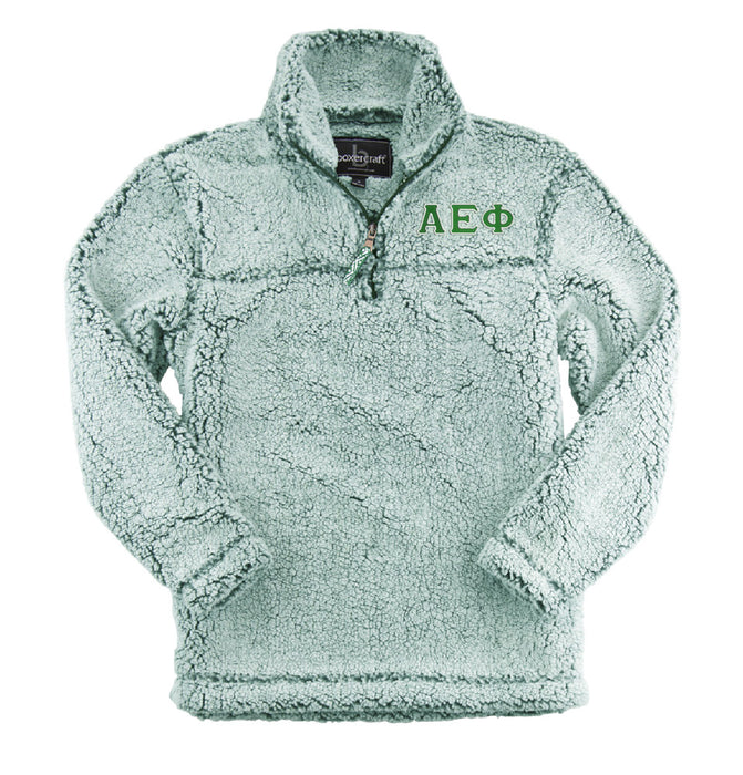 Alpha Epsilon Phi Embroidered Sherpa Quarter Zip Pullover