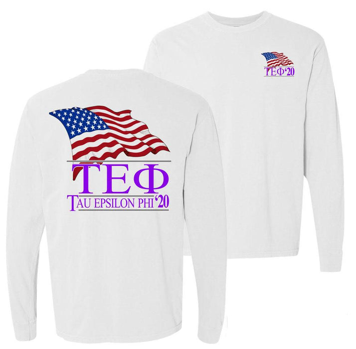 Tau Epsilon Phi Patriot Flag Comfort Colors Long Tee