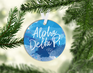 Alpha Delta Pi Round Acrylic Watercolor Ornament