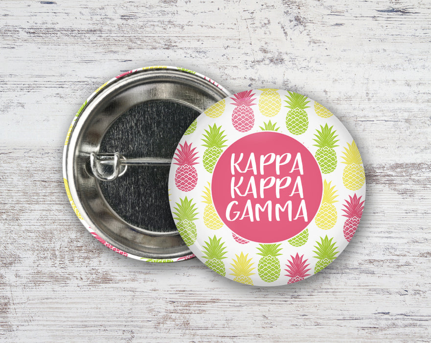 Kappa Kappa Gamma Pineapples Button