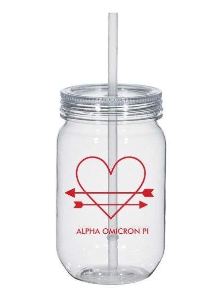 Alpha Omicron Pi Heart Arrows Name 25oz Mason Jar