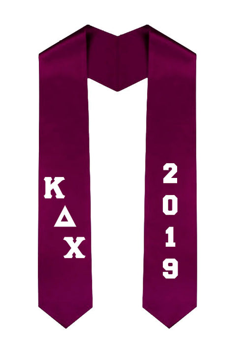 Kappa Delta Chi Slanted Grad Stole with Letters & Year